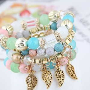3/$20 New Pastel & Gold Beaded Bracelet Set